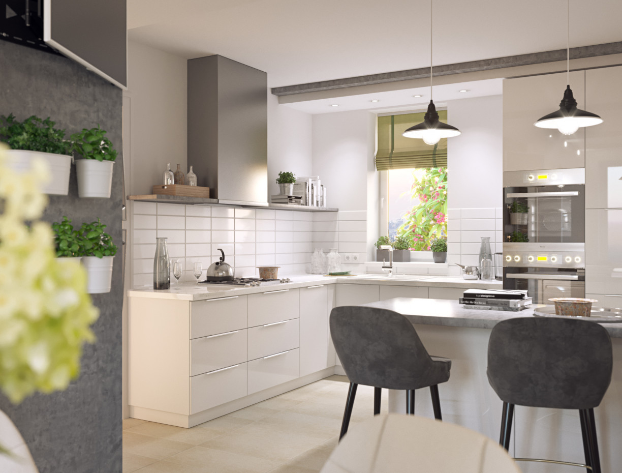 Visualization of kitchen and dining room in 3d max corona render image