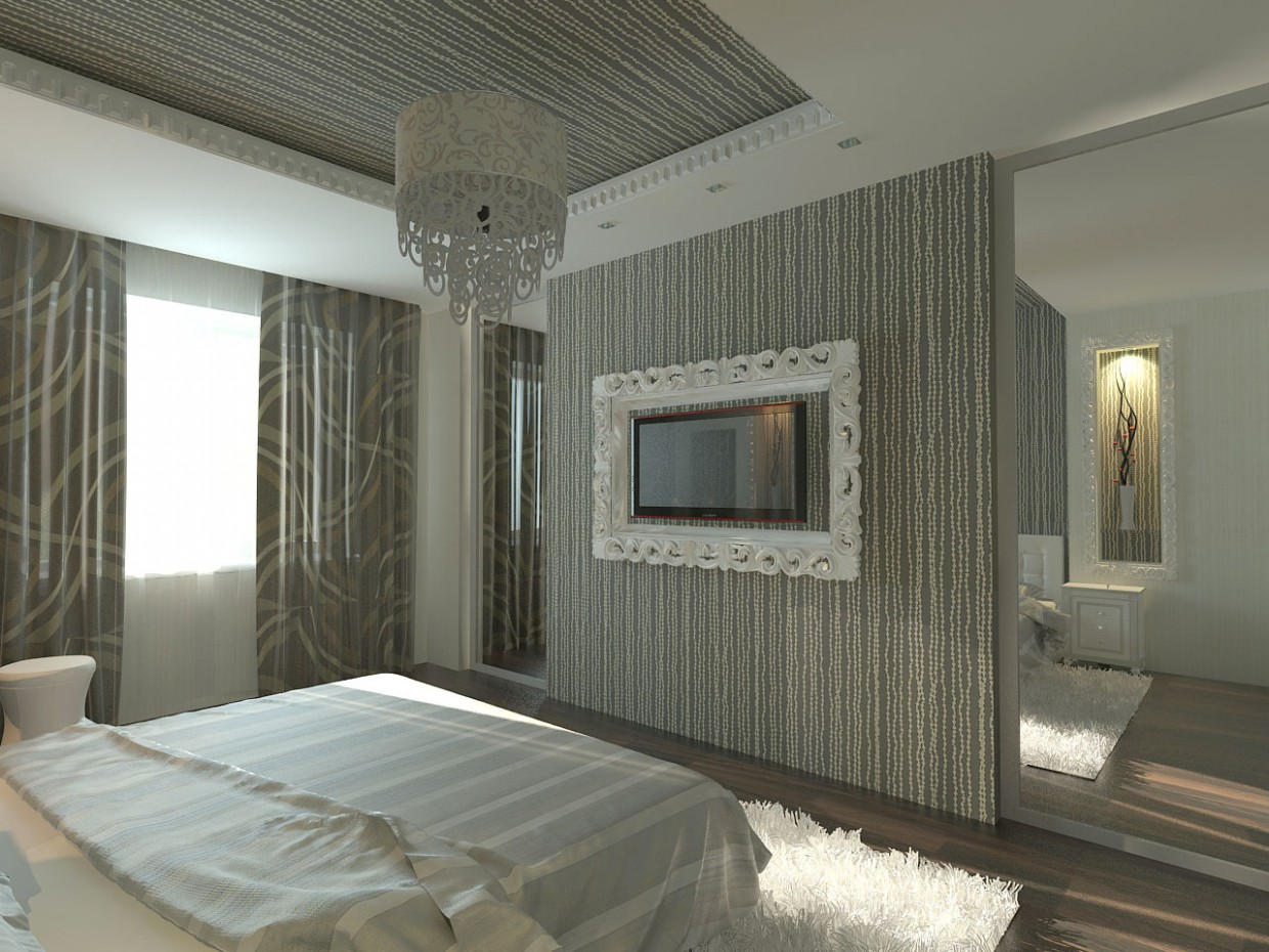 modern bedroom in 3d max vray image