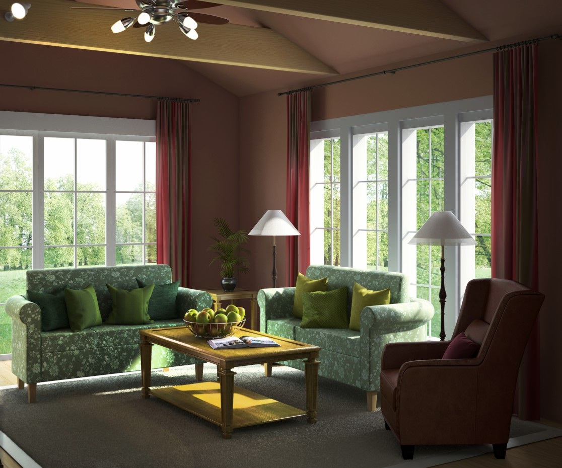 Living room with fireplace in 3d max vray image