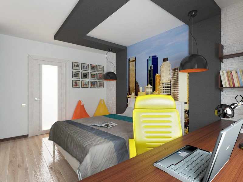 Boy's room in 3d max vray image