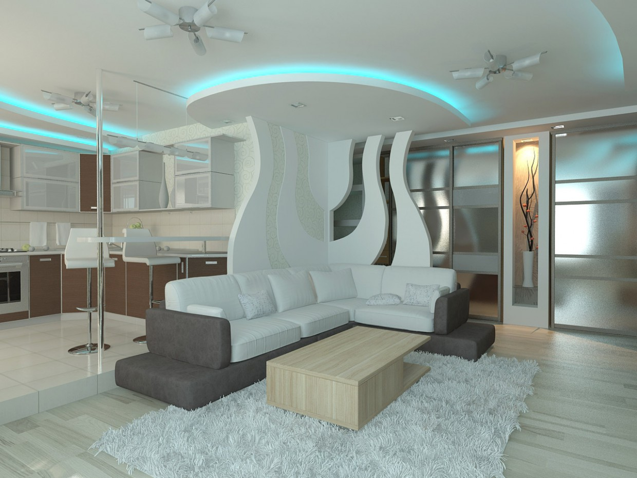 Living room with roundels in 3d max vray image