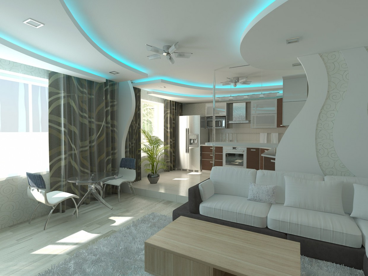 3d visualization of the project in the Living room with roundels 3d max, render vray of grin-81