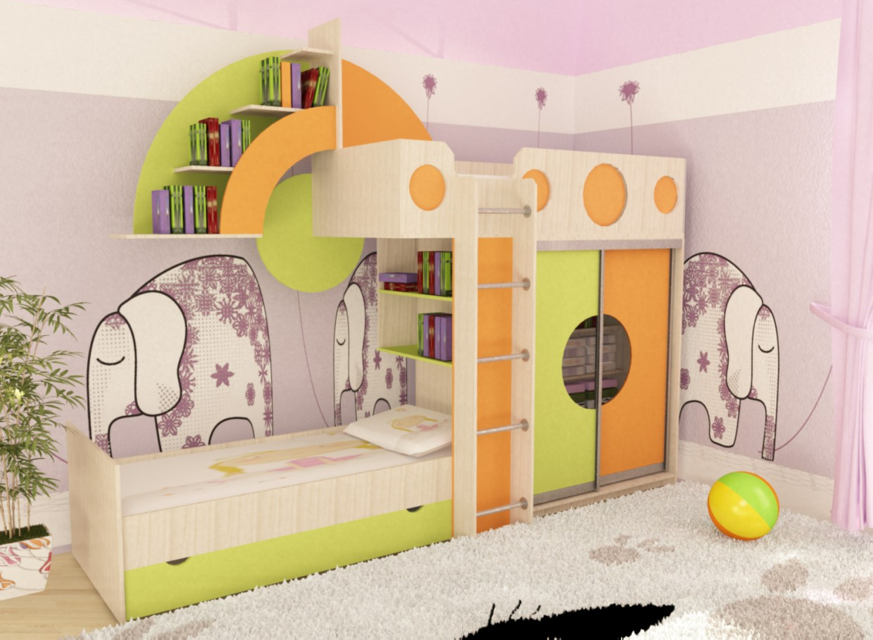 A bed for a child  in  3d max   vray  image