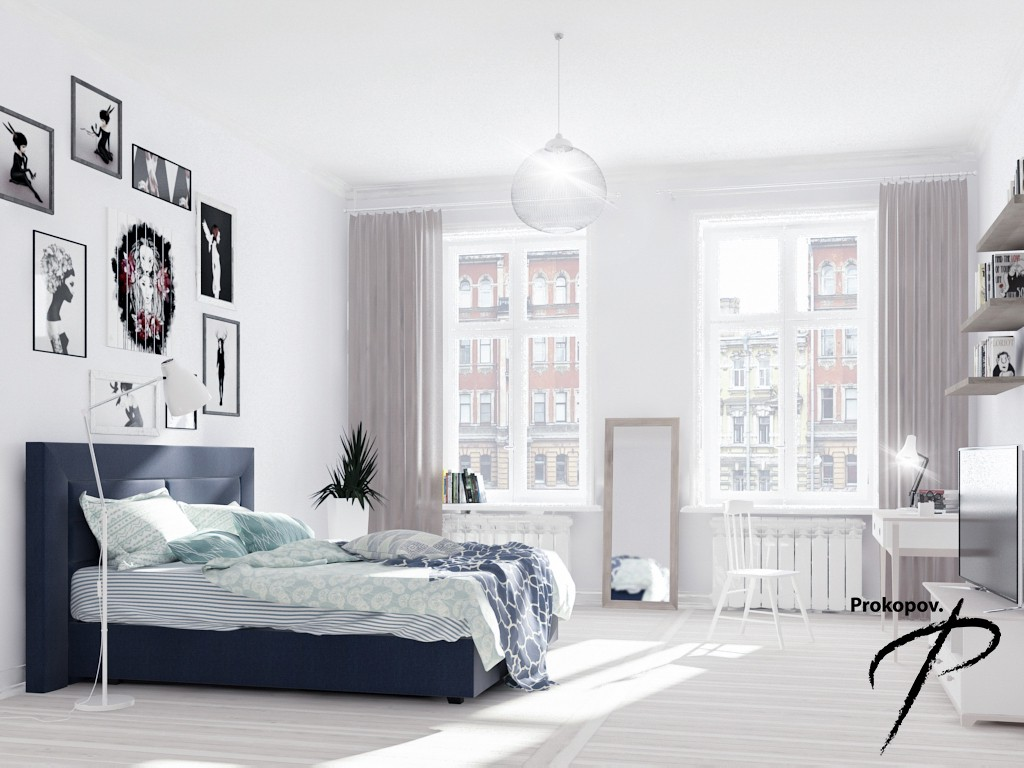 Bedroom in a Scandinavian style in 3d max vray 3.0 image