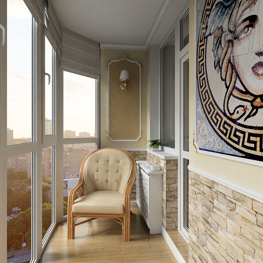 Остеклённый балкон в Чернигове в 3d max vray 1.5 изображение