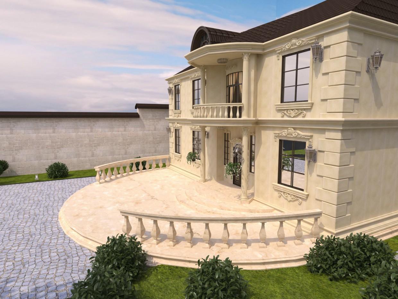 загородный дом в 3d max vray изображение