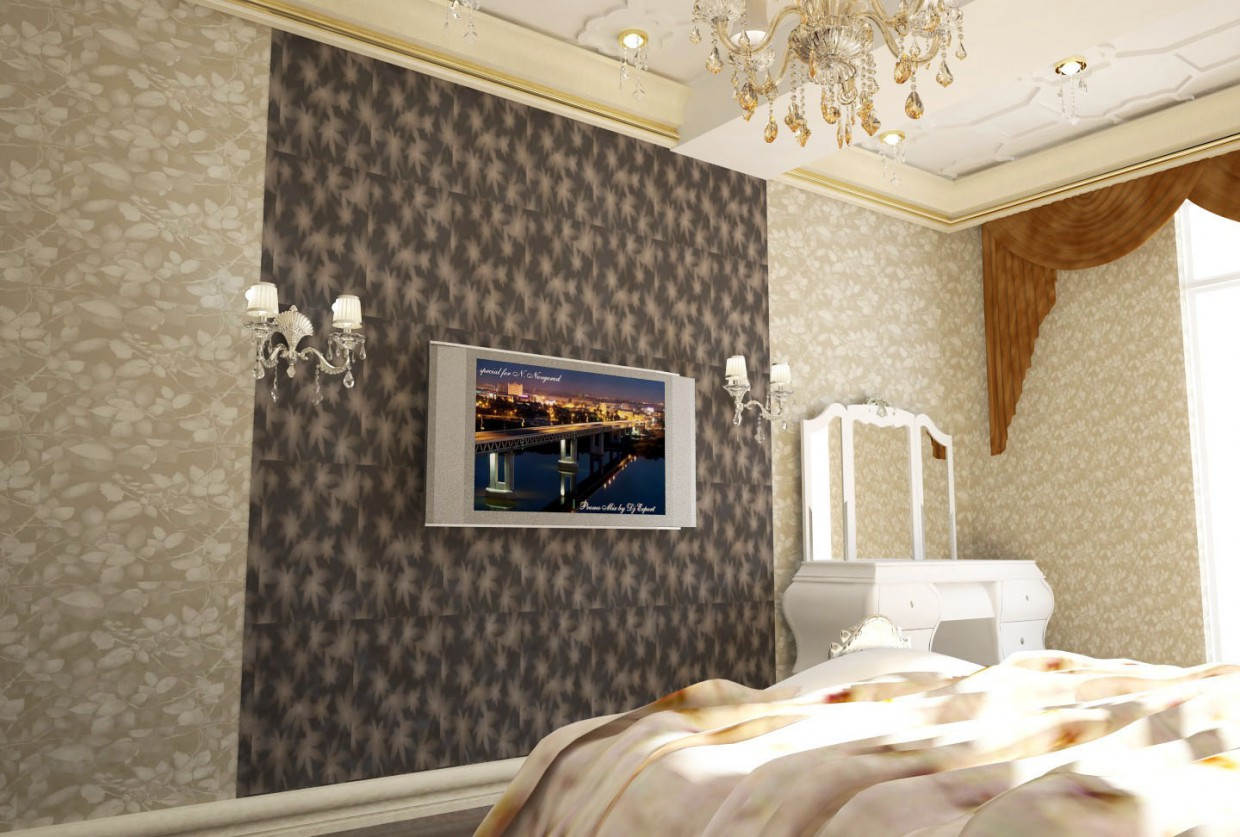 3d visualization of the project in the bedroom 3d max, render vray of Мehman