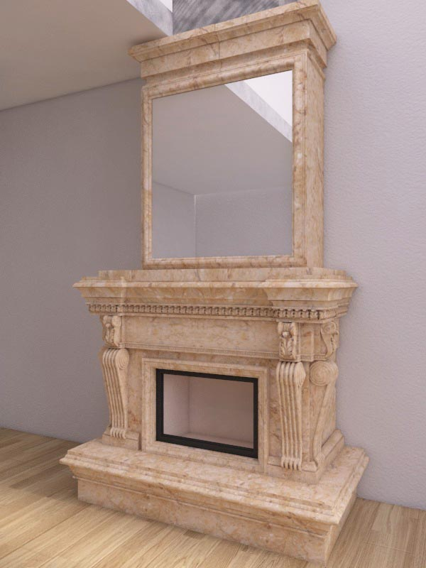 Fireplace design in 3d max vray 3.0 image