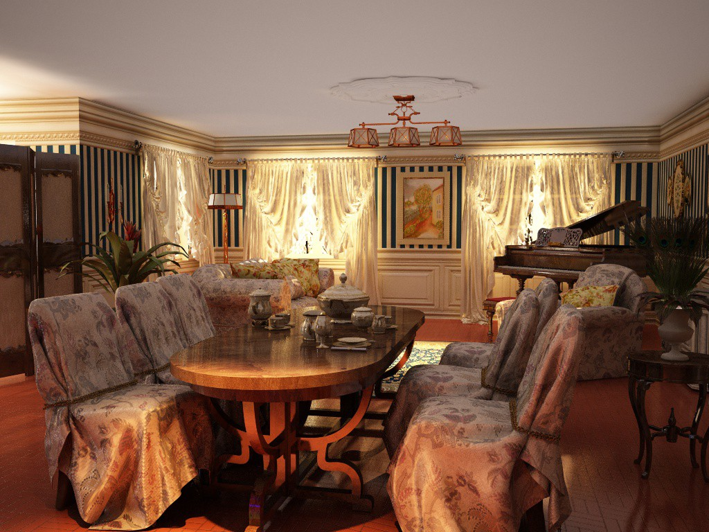 Interior living room in a private home by user elementa for Living room cinema 4d