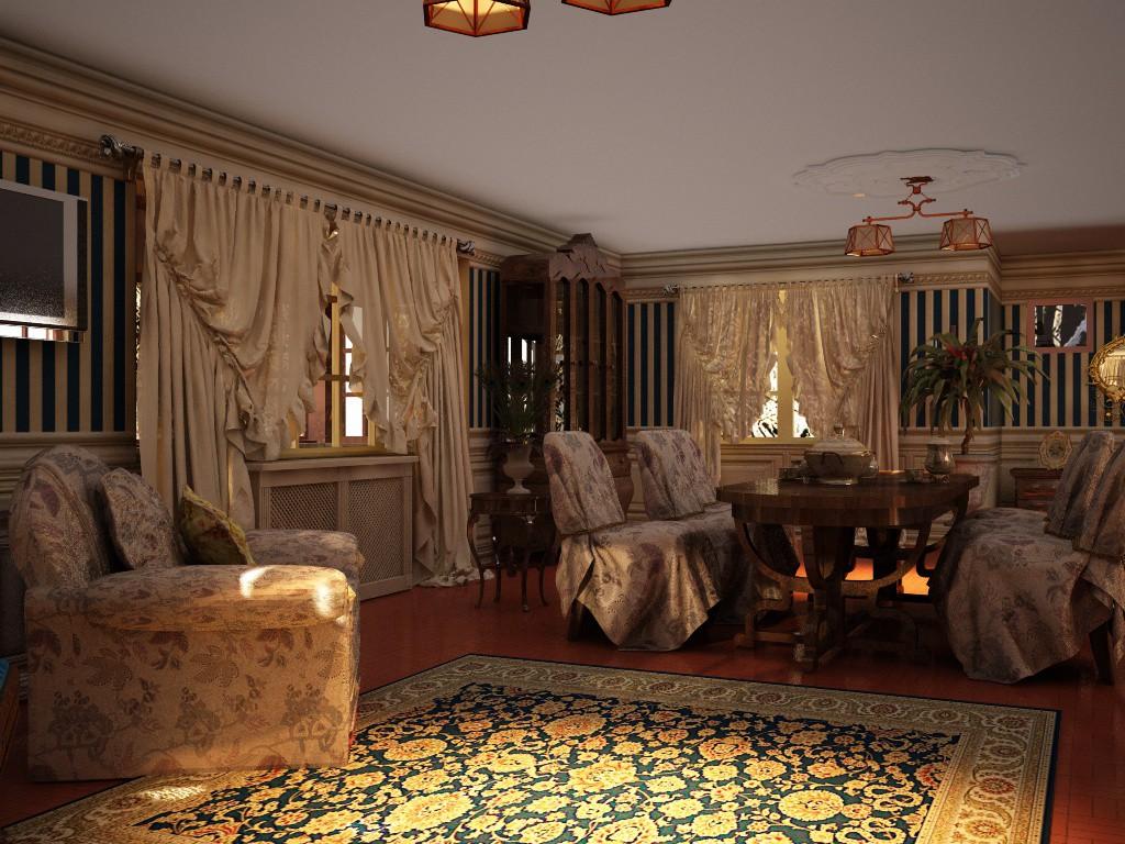 Гостиная в частном доме в Cinema 4d vray изображение