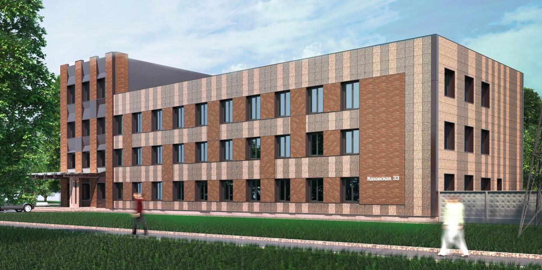 imagen de Fachada de la oficina de la empresa de construcción en 3d max corona render