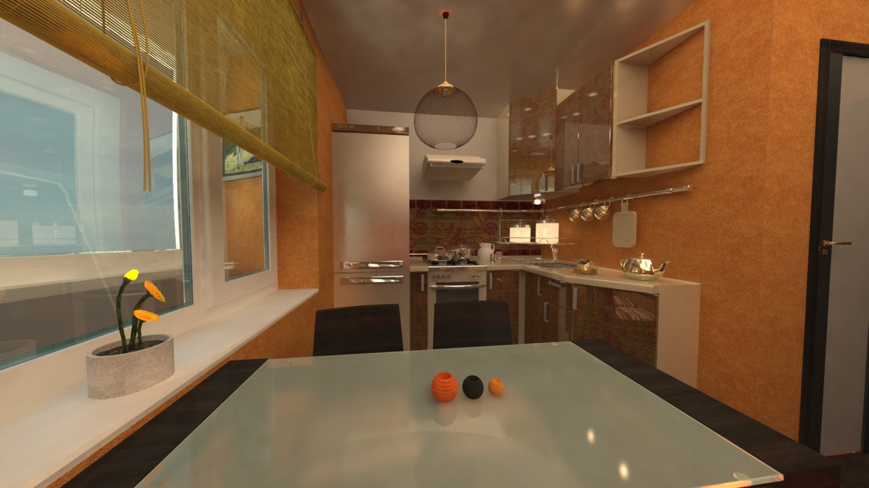 3d visualization of the project in the kitchen 3d max, render vray of Djuk