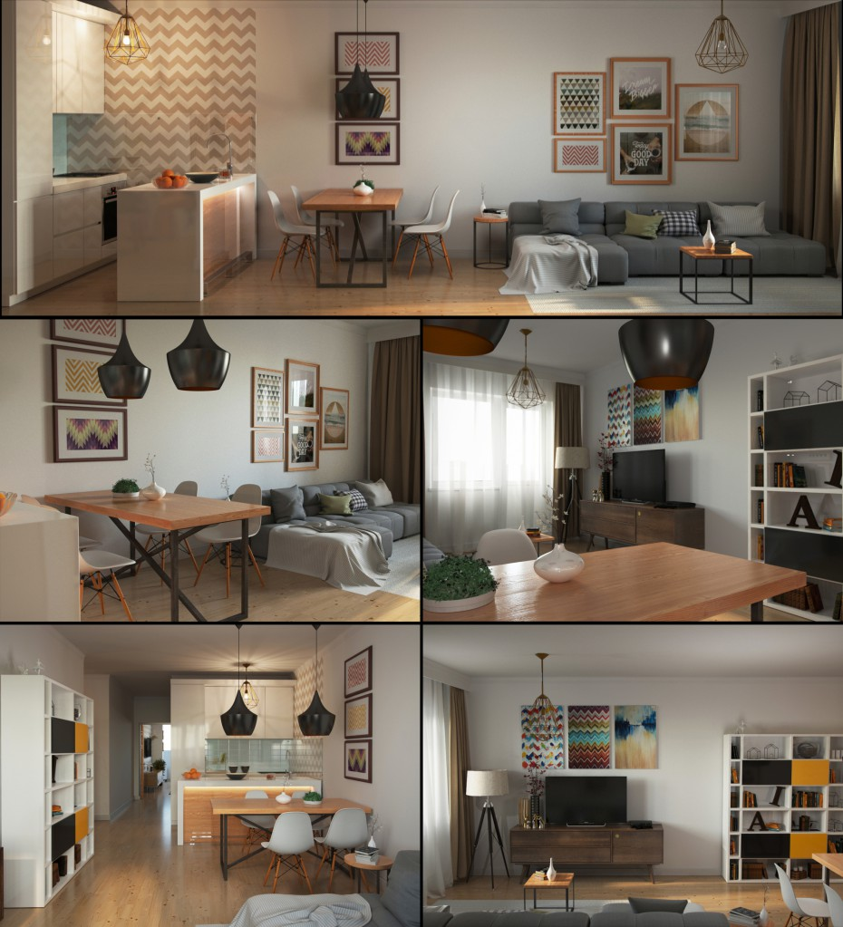 3d visualization of the project in the Two-roomed flat 3d max, render corona render of fox287