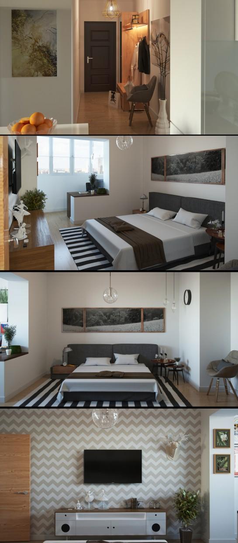 Двухкомнатная квартира в 3d max corona render изображение