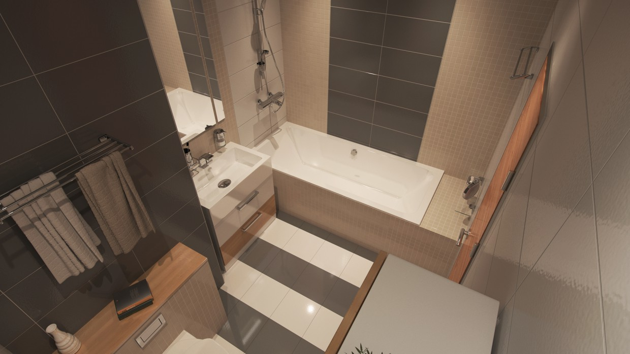 Two-roomed flat in 3d max corona render image