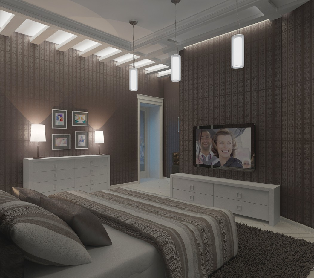 bedroom for a man in 3d max vray image