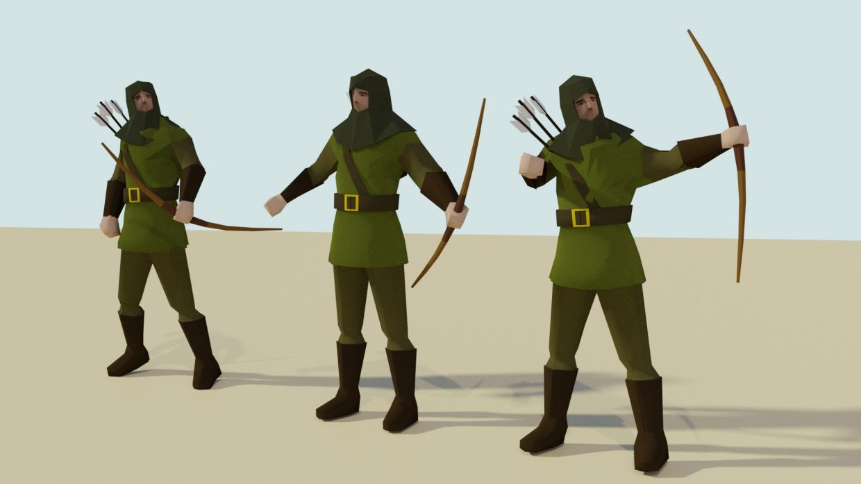 Archer (low-poly) in Blender cycles render image