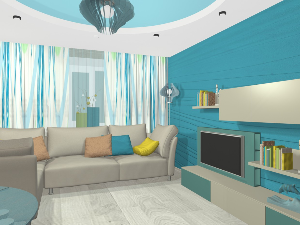 3d visualization of the project in the interior living room 3d max, render mental ray of Svetlana Knyazkova