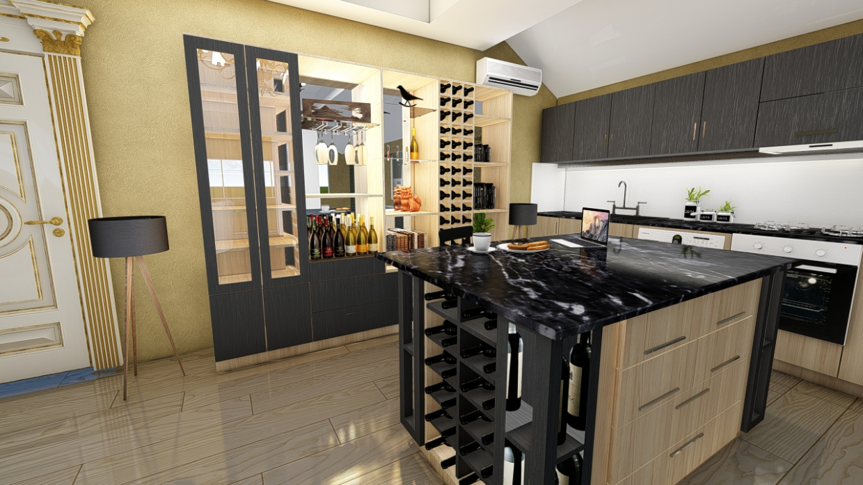 Bar & KItchen in ArchiCAD Thea render image