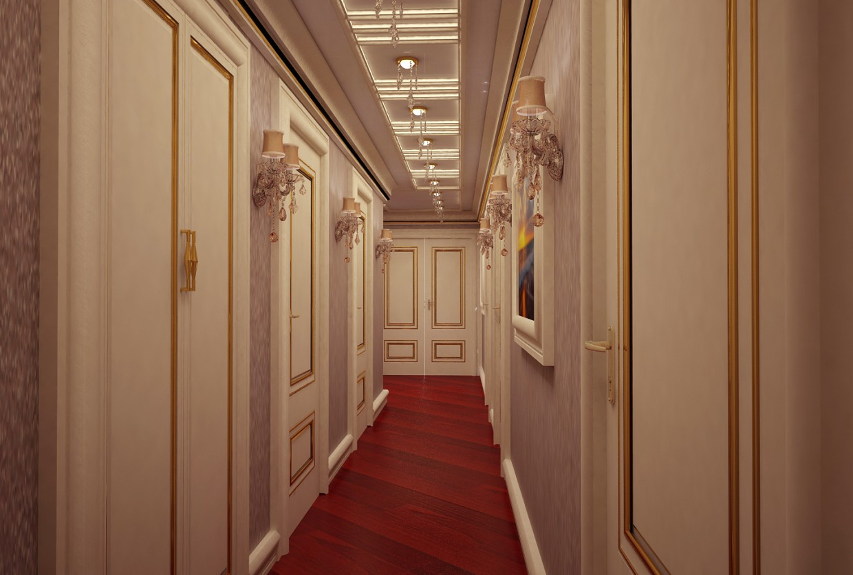 Hallway in 3d max vray image