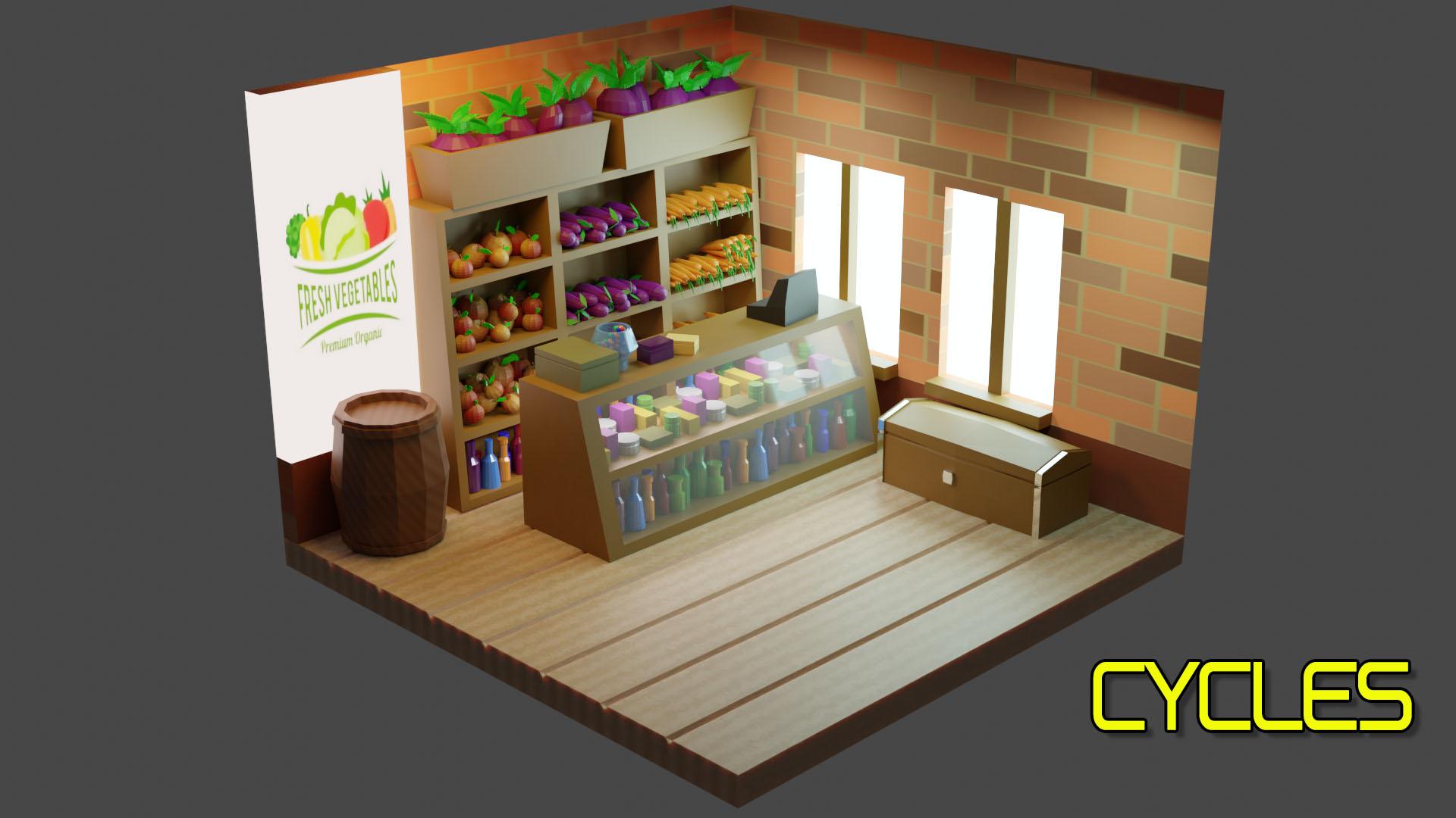 Vegets Shop. (Low-poly) in Blender cycles render image