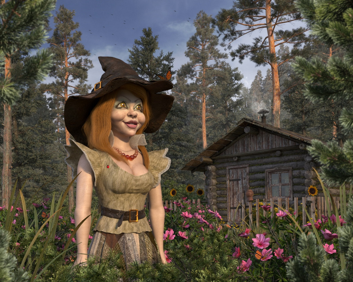 Witch Masha in 3d max corona render image