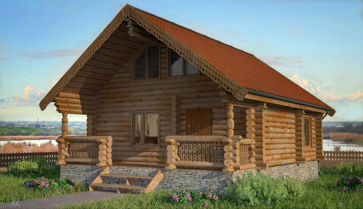 House from logs in 3d max vray image