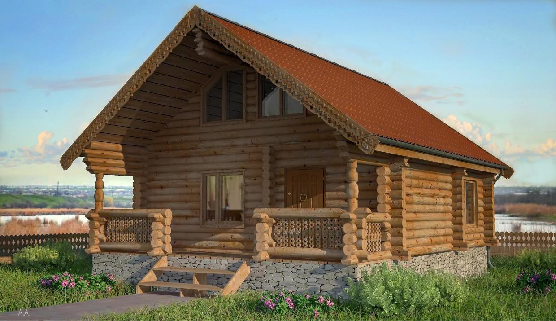 Будинок зі зрубу в 3d max vray зображення