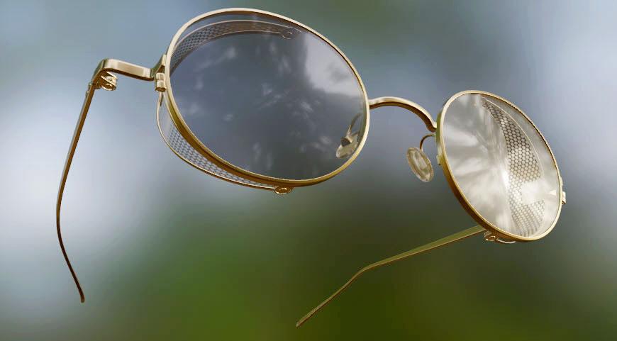 Glasses PT-01-Gold-Black in Blender cycles render image