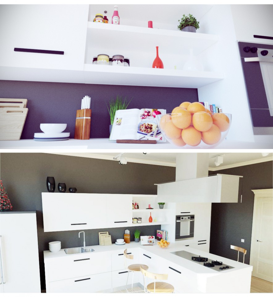 3d visualization of the project in the Kitchen 3d max, render corona render of Акжол 92