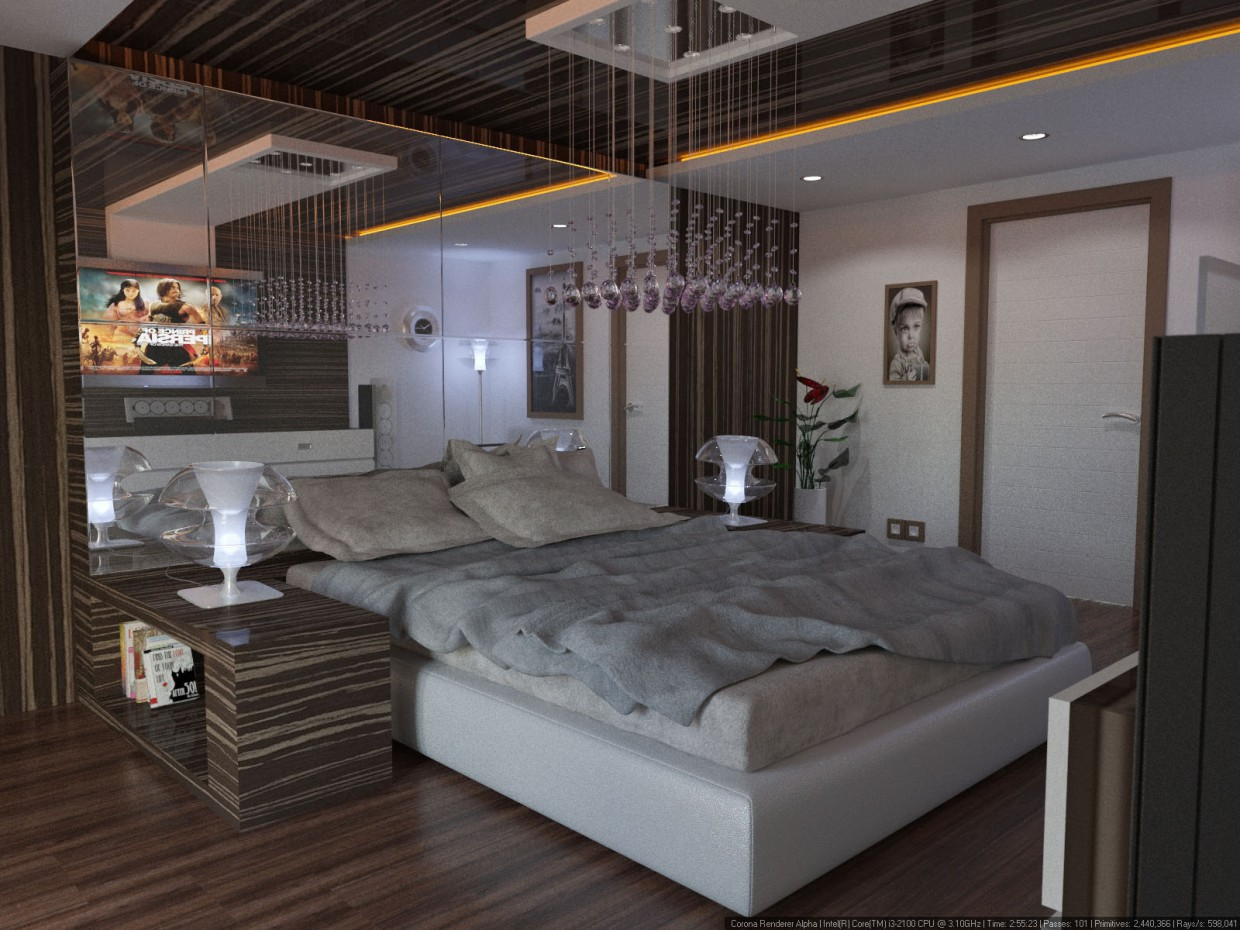 3d visualization of the project in the Bedroom 3d max, render corona render of mohamaddarvishi