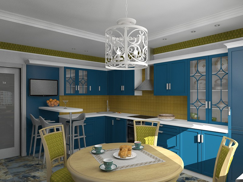 кухня їдальня в 3d max vray зображення