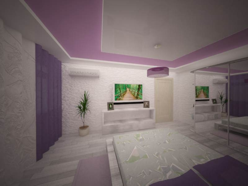 purple bedroom in 3d max vray image