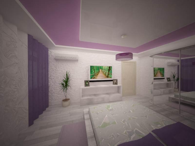 3d візуалізація проекту спальня бузкова в 3d max, рендер vray від Jane2510