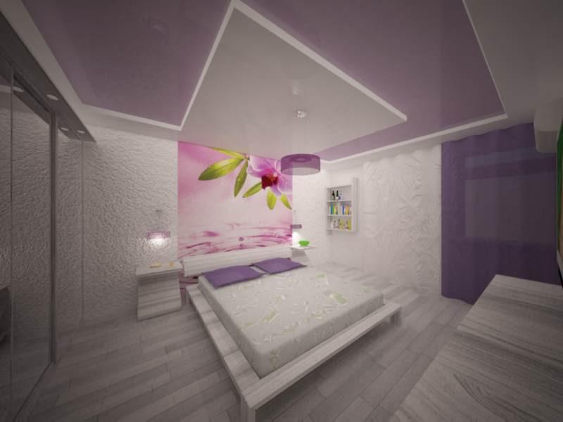 purple bedroom in 3d max vray image