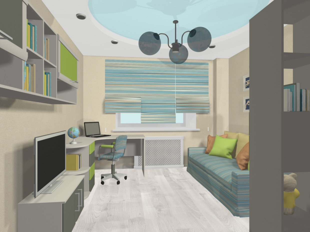 3d visualization of the project in the Child's room for a boy 3d max, render mental ray of Svetlana Knyazkova