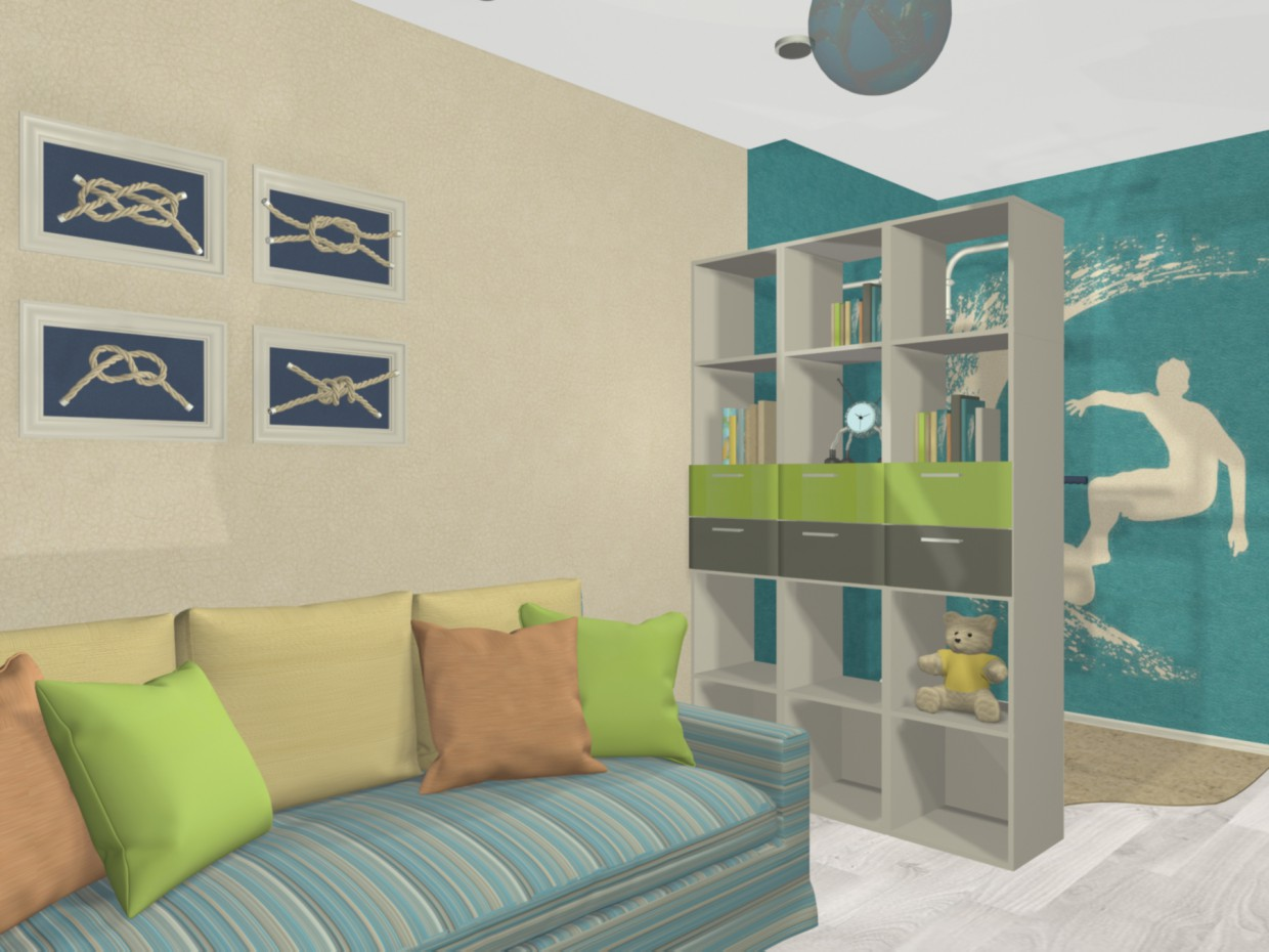 Child's room for a boy in 3d max mental ray image