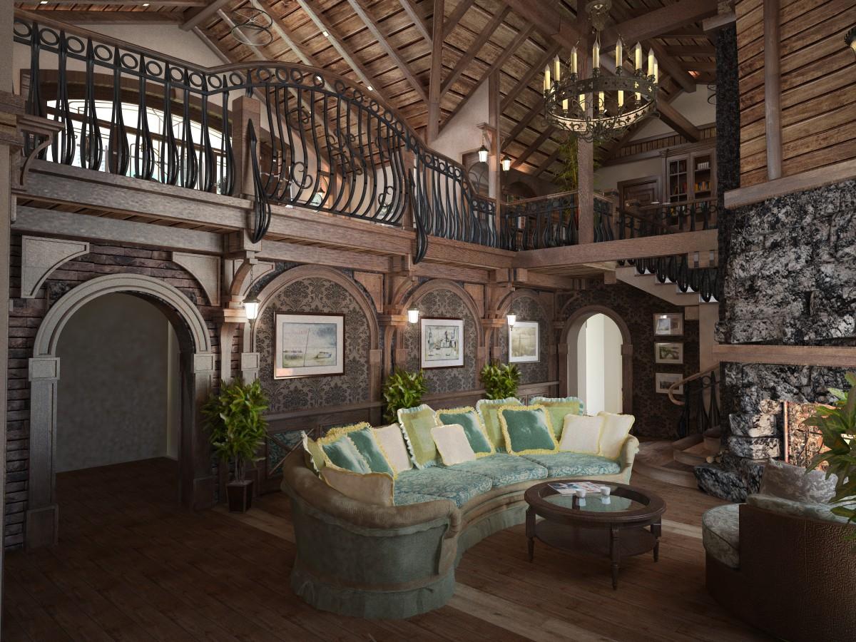 Вітальня в замковому стилі в 3d max vray зображення