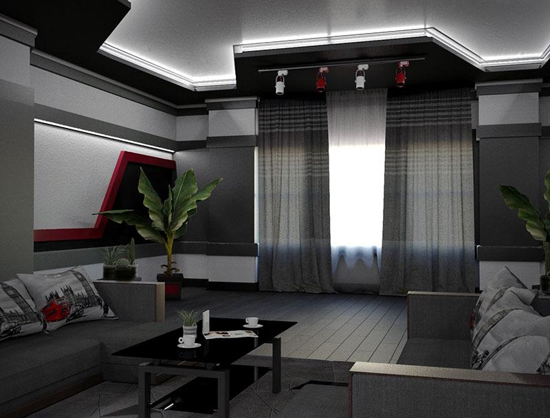 बैठक कक्ष 3d max corona render में प्रस्तुत छवि