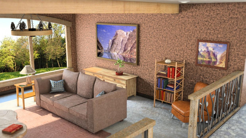 American house in Maya vray image
