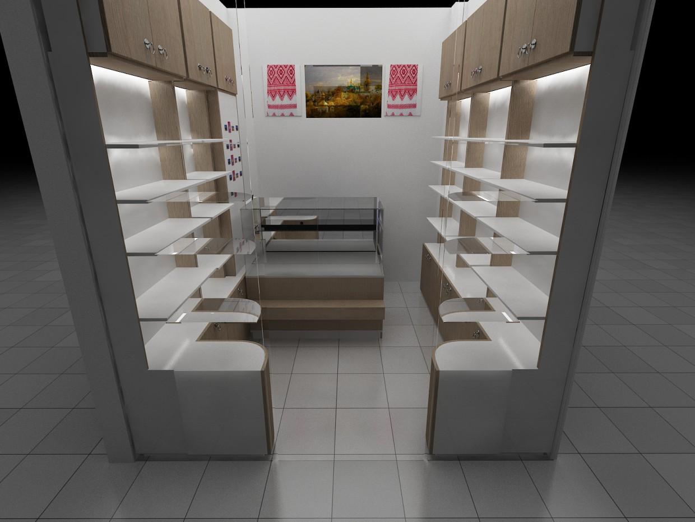 Дизайн магазинчика сувениров в Аэропорту Жуляны в 3d max vray изображение