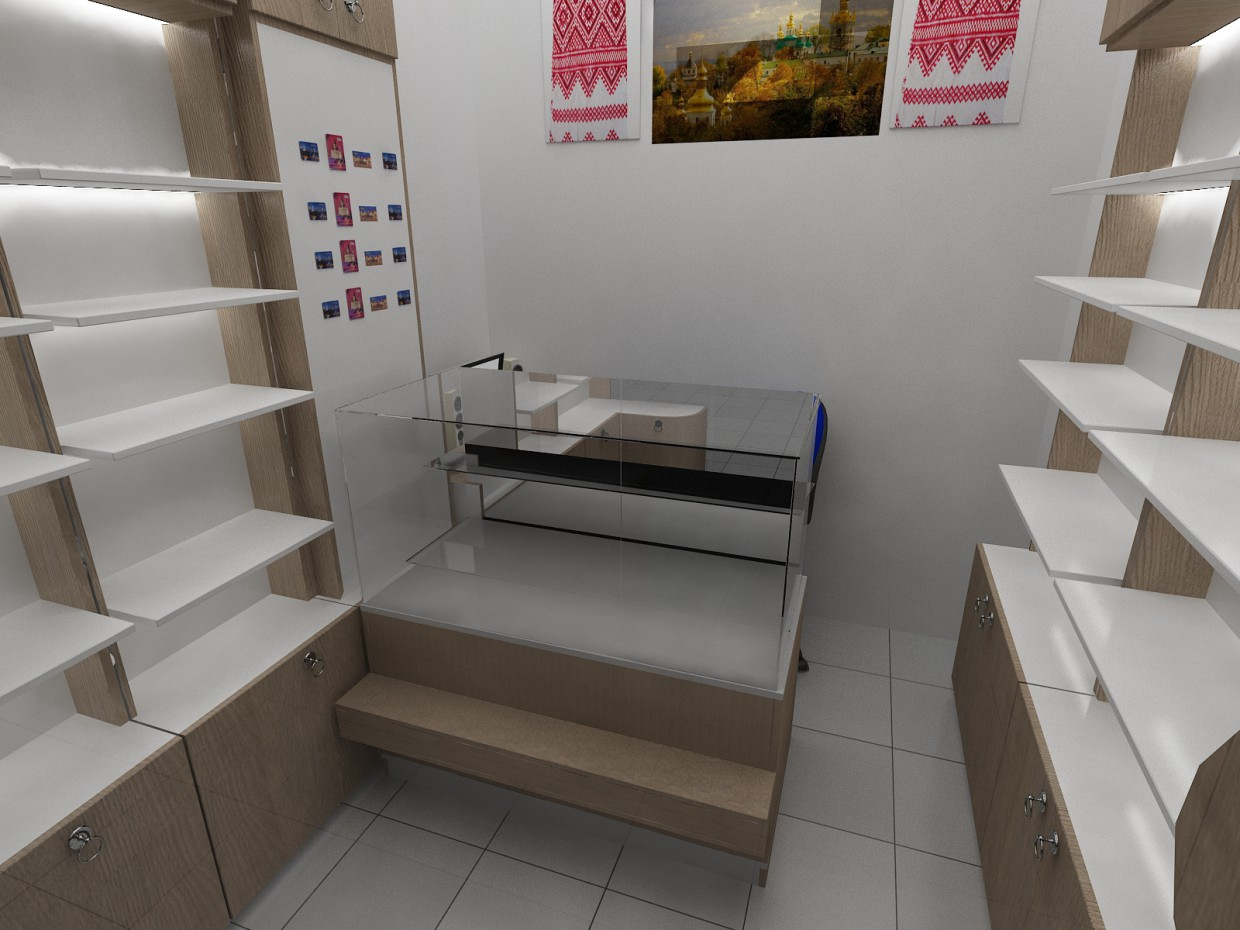 Design of the gift shop at the airport Juliani in 3d max vray image
