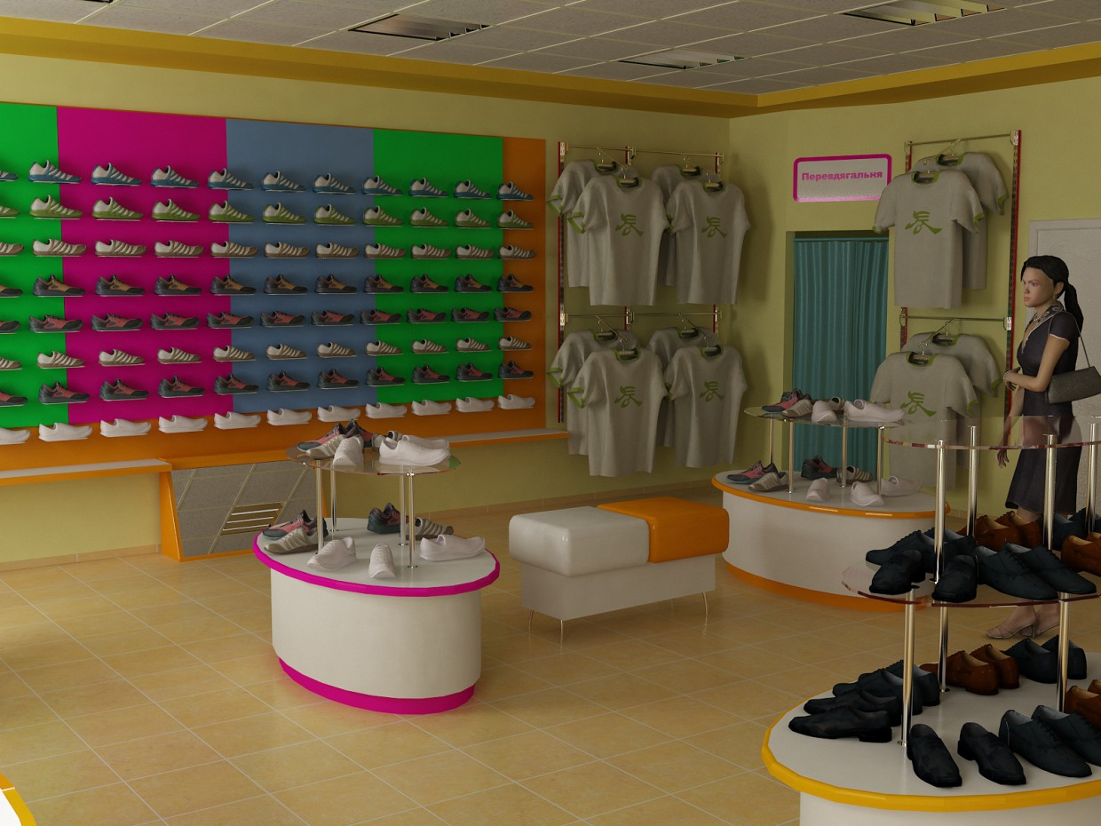 Shoe store  in  3d max   vray  image
