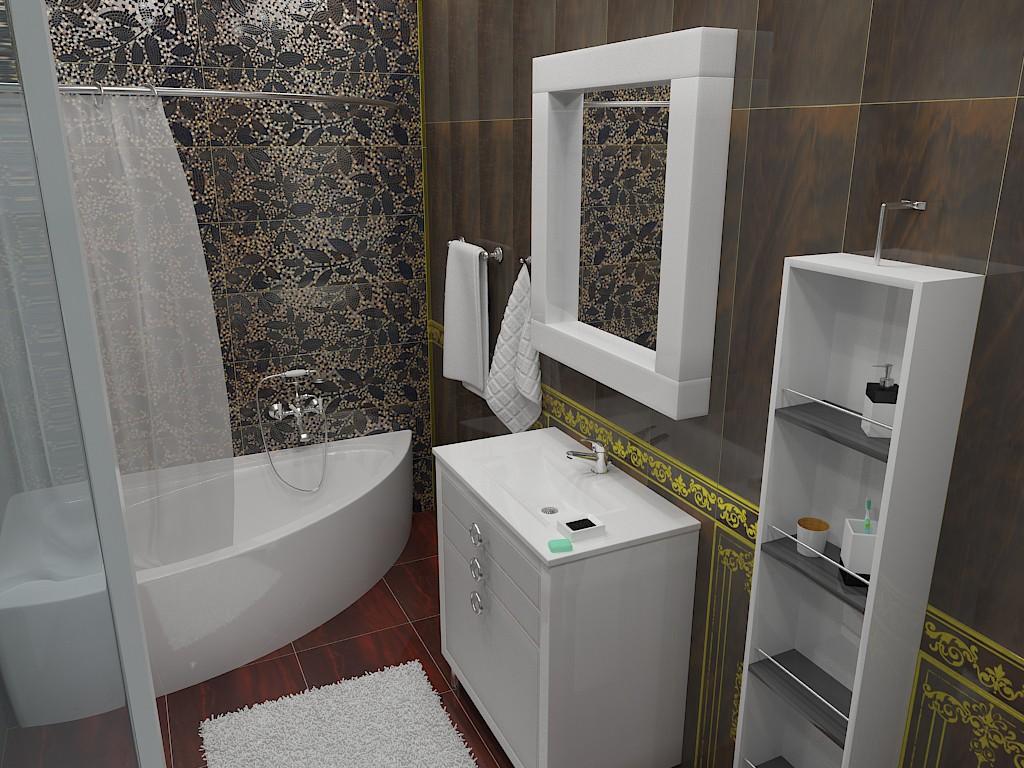 Ванна кімната (виправлене освітлення) в 3d max vray зображення