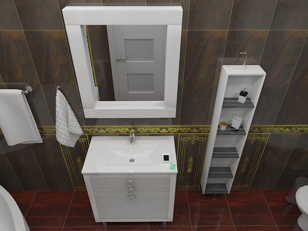 Bathroom (corrected lighting) in 3d max vray image