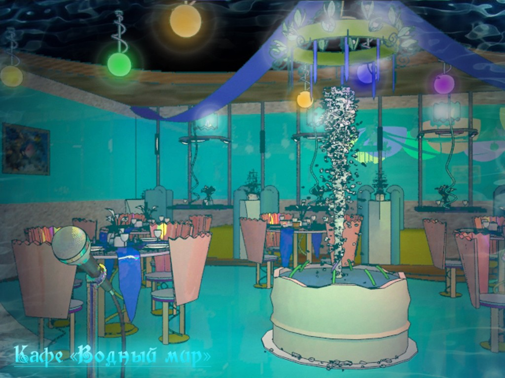 "Cafe ""water world""  in  3d max   vray  image"