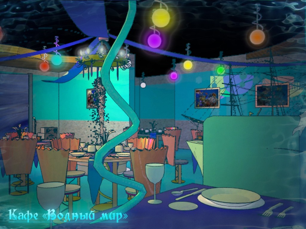 """Cafe """"water world"""" in 3d max vray image"""