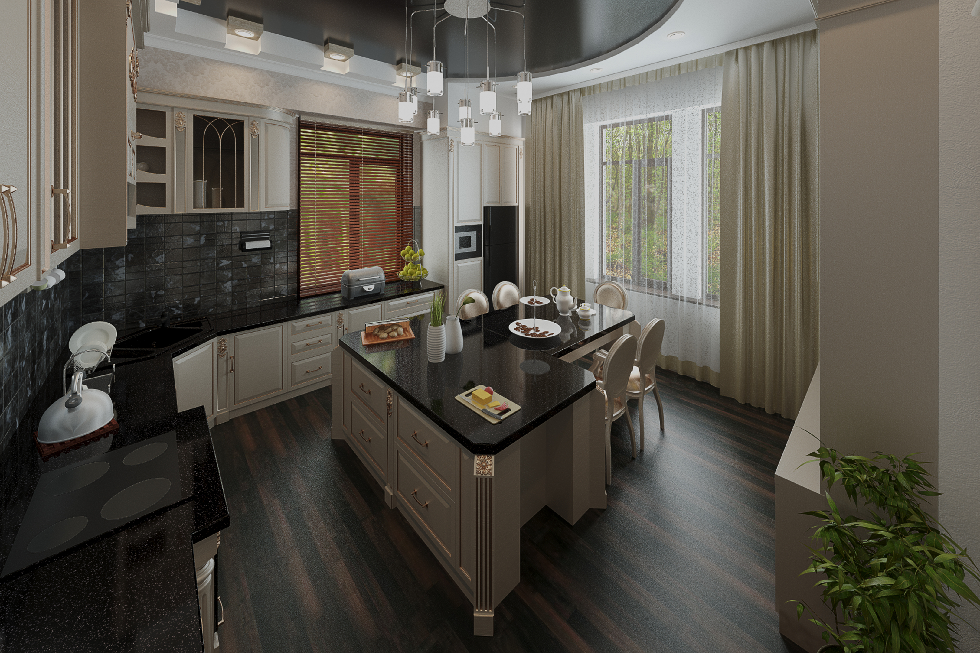 Kitchen-dining room in 3d max vray 3.0 image