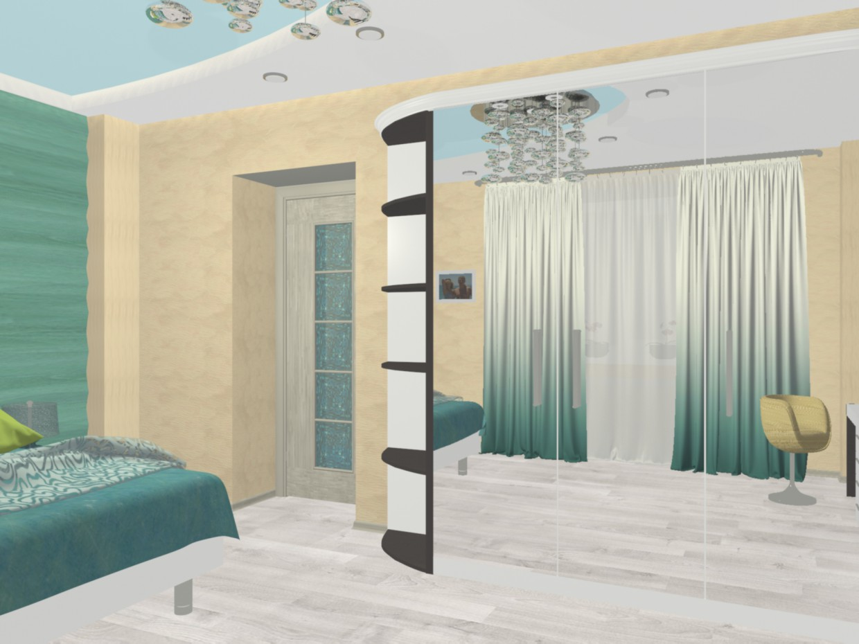 """3d visualization of the project in the The concept of """"sea surf"""" in the interior of a bedroom 3d max, render mental ray of Svetlana Knyazkova"""