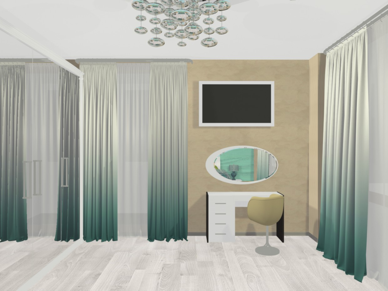 "The concept of ""sea surf"" in the interior of a bedroom in 3d max mental ray image"